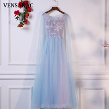 VENSANAC 2018 O Neck Flowers Appliques A Line Long Evening Dresses Elegant Lace Party Beading Embroidery Prom Gowns