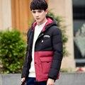 Novo Design de Inverno jaqueta Homens Para Baixo 2016 Gola de Pele de Homens Jaqueta de Algodão Acolchoado Engrossar Casaco Quente Juntando Casaco À Prova de Vento
