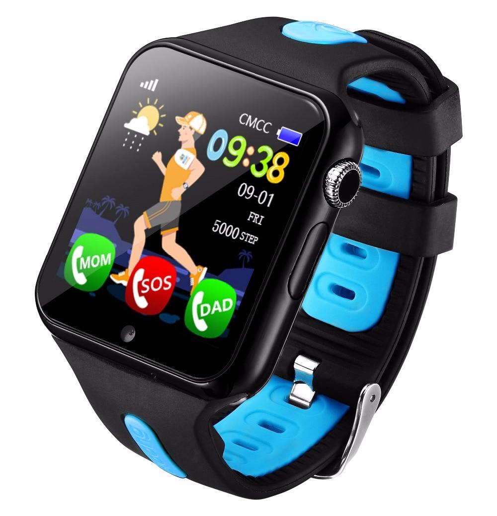 Kids Watch GPS Tracker Watch Kids Hot SOS Call Location Device Tracker Camera Anti-Lost Monitor Waterproof Blue Smart Watches V
