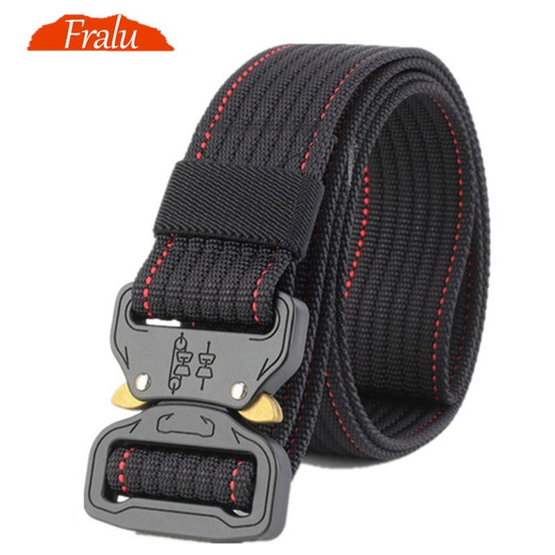 FRALU New Tactical   Belt   Military Nylon   Belt   Men Army Style   Belt   Automatic Metal Buckle Cinturon Quality SWAT Waist Strap Hunting