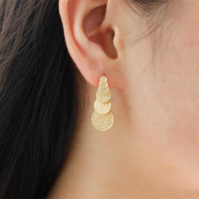Golden Multi-circle long จี้ Suspension ประเภทต่างหู Auriculares Brincos โบฮีเมียผู้หญิงงานแต่งงานเครื่องประดับ Aretes