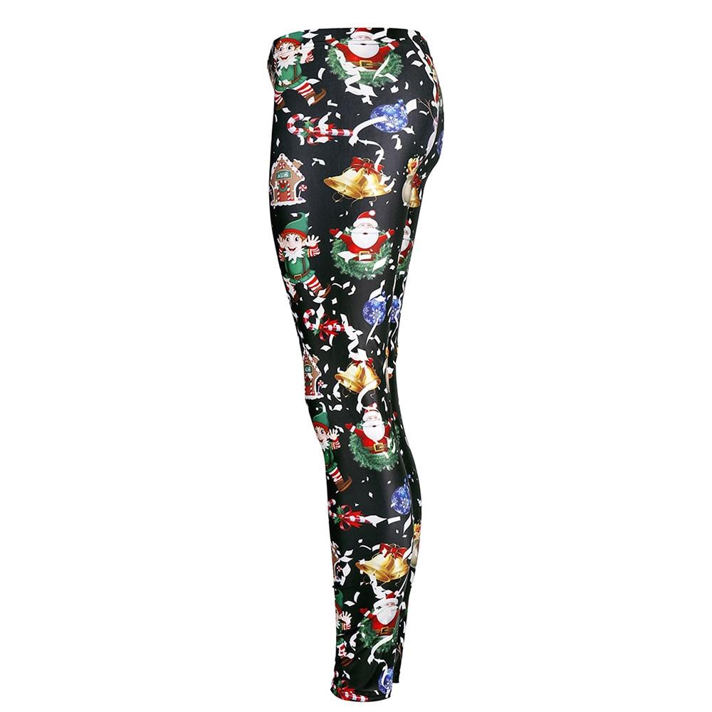 PLstar Cosmos  Santa Claus Leggings Women Plus Size Christmas Bell House Leggins Festival Pocket Gift Autumn Winter Legging