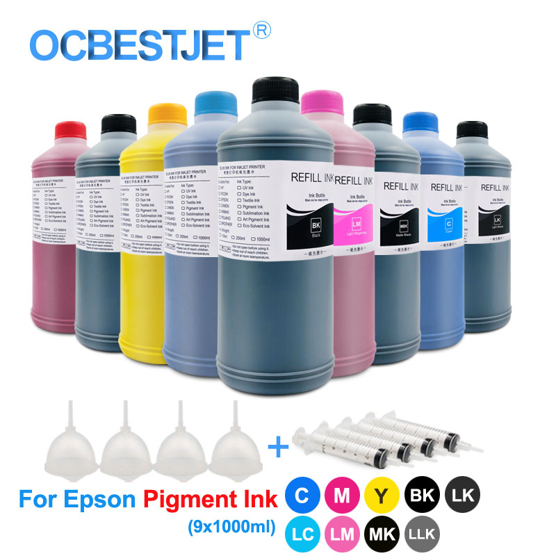 9x1000ml Refill Pigment Ink For Epson 3800 3850 3880 3890 SureColor P600 P607 P608 P800 Printer Ink Pigment Ink For Epson