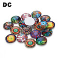 DC 30pcs/lot 12mm Handmade Round Flatback Photo Glass Cabochons Picture Domes Cameo Cabochons for DIY Jewelry Making Supplies
