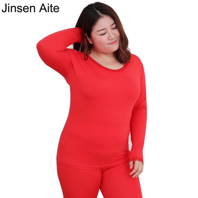 Jinsen Aite Plus Size 2X-6XL New Women Long Johns Modal Elastic Casual Thermal Underwear Women O-neck Lace Bottoming Suit JS93