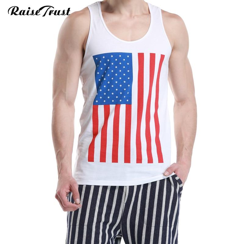 f929a7a079 015 nuevos hombres del algodón Camisetas de tirantes chaleco del tanque de  la aptitud hombres Camisetas interiores bandera americana camiseta hombres  Top ...