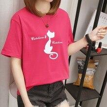 2019 Summer New Women's T-shirt Korean Fashion Casual Kitten Print Loose Large Size Female Tshirts  Kawaii Tees  O-Neck Tops 90s все цены