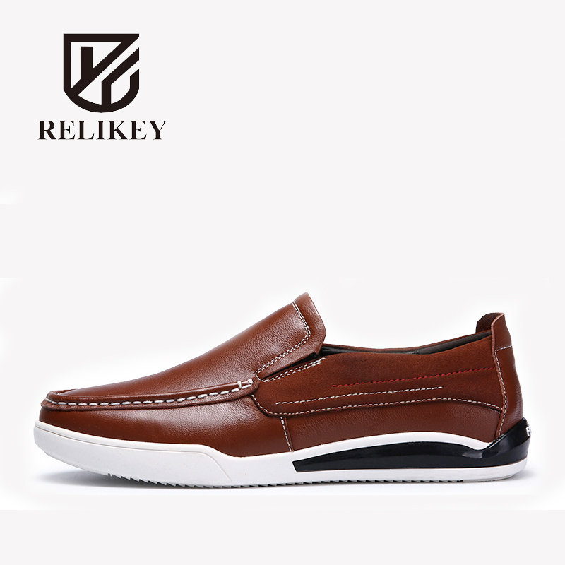 RELIKEY Brand Men Loafers Fashion Handmade Genuine Cow Leather Slip-On Spring New Arrival Male Flats Black Soft Causal Shoes Men men mixed color shoes 2017 new genuine leather fashion men s flats prom male loafers slip on party wedding shoes size 6 15