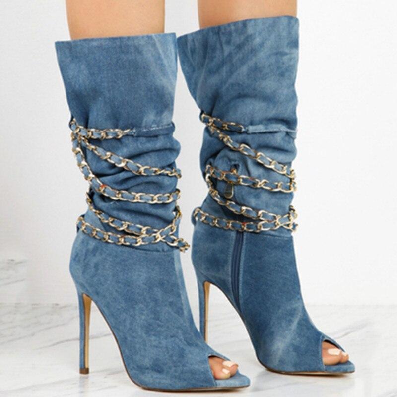 Scarpe Donna Mode blue Toe Ag421 Daim Black Peep Sangle dark Bottes Automne Chaîne pink Talons Sexy Solide En Brown Hauts De À Cheville HFxzawWZq