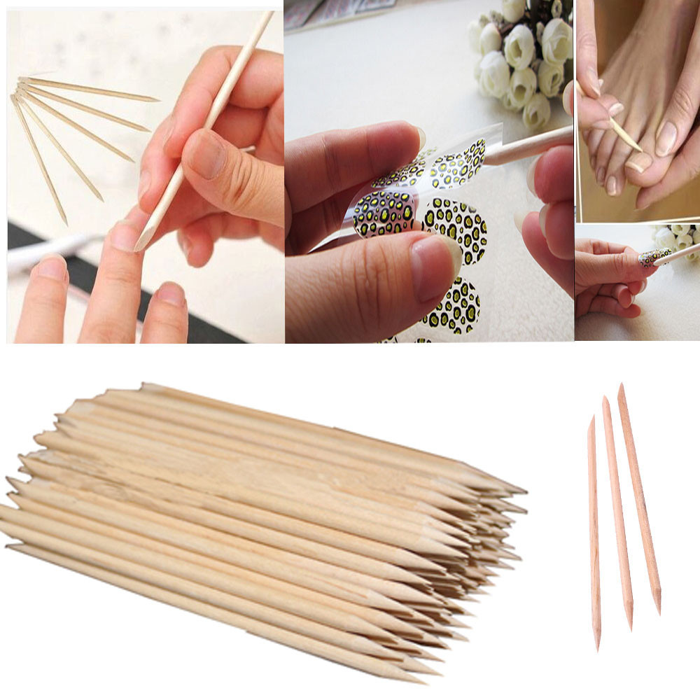 Nail Art Yools 100Pcs kalem seti Nail Art Orange Wood Stick gel nail polish set Cuticle Remover Pedicure Manicure Tool