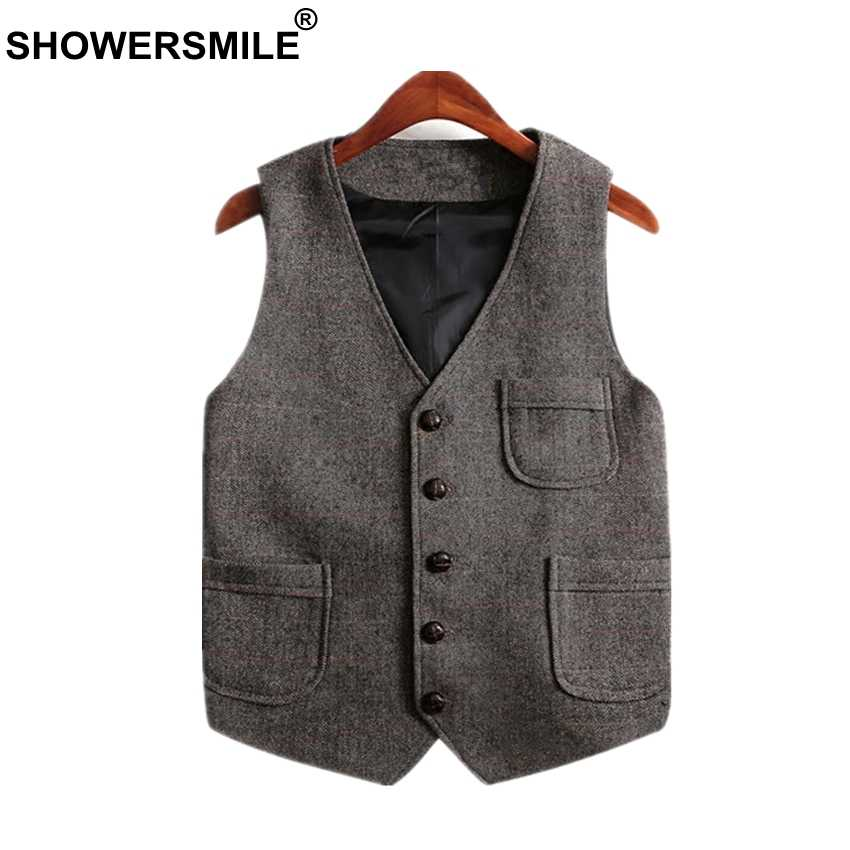 SHOWERSMILE Vintage Tweed Vest Plus Size Men Waistcoat With Pockets Woolen Sleeveless Jacket British Style Vest Men Gilet Brand