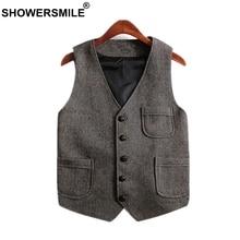 SHOWERSMILE Vintage Tweed Vest Plus Size Men Waistcoat With Pockets Woolen Sleeveless Jacket British Style Gilet Brand