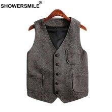 SHOWERSMILE Vintage Tweed Vest Plus Size Men Waistcoat With Pockets Woolen Sleeveless Jacket British Style Vest Men Gilet Brand