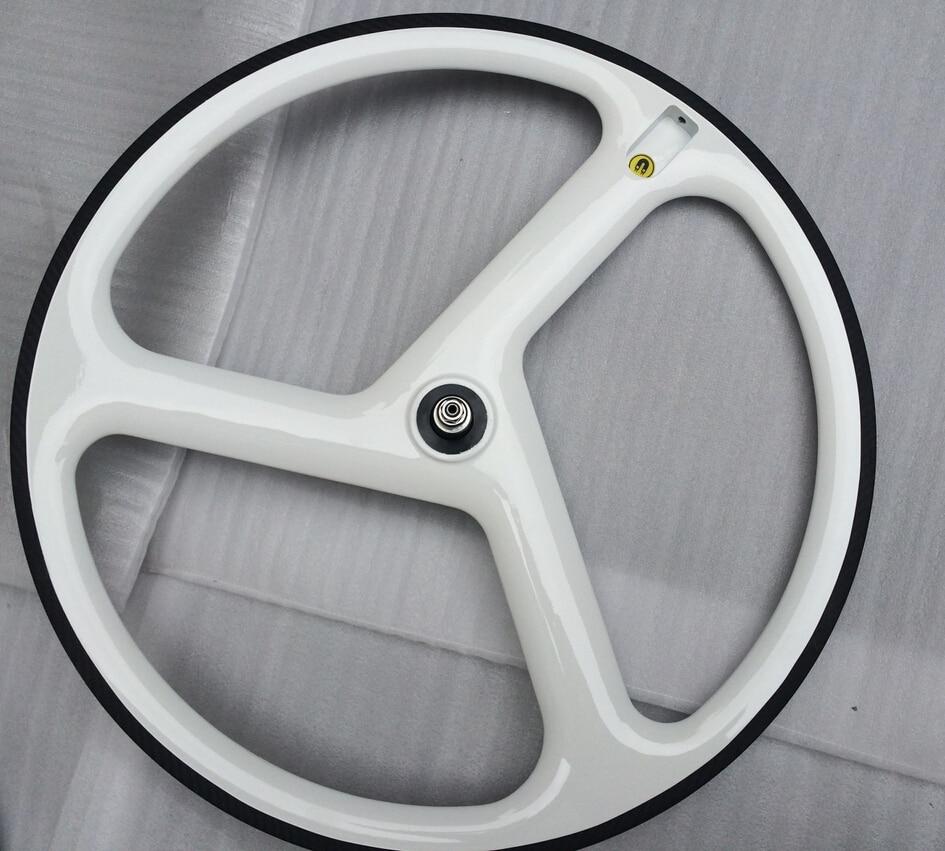 Fixie Rims Oem White Glossy 3 Spoke Bike Wheel Clincher