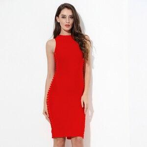 Image 4 - 2020 חדש כתום חאקי אדום O צוואר חלול מתוך Bodycon נשים תחבושת שמלות Midi שרוולים סלבריטאים מסיבת חג המולד שמלה