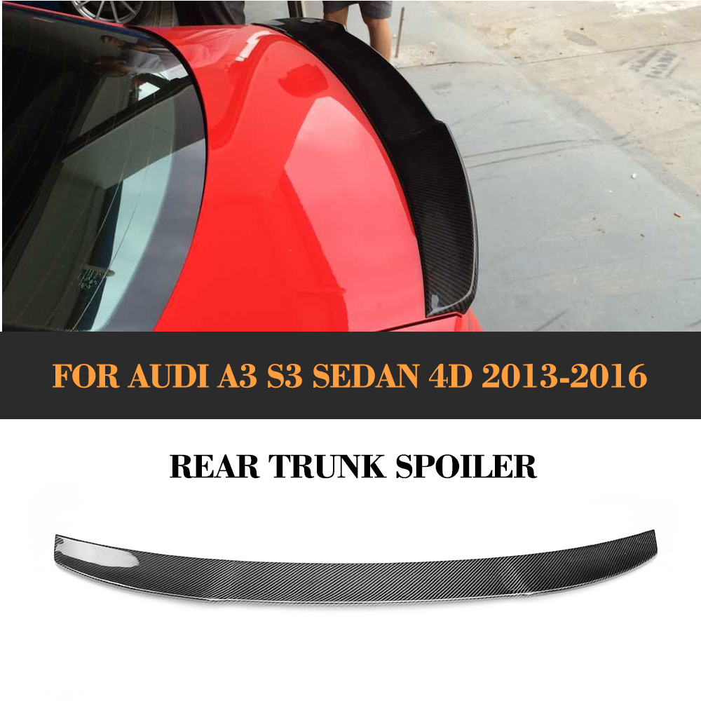 Carbon Fiber Rear Wing Spoiler Auto Racing Car Tail Trunk Boot Lip Wing Spoiler for Audi A3 S3 8V Sedan 2013 - 2016 carbon fiber auto car rear trunk wing lip spoiler for audi for a3