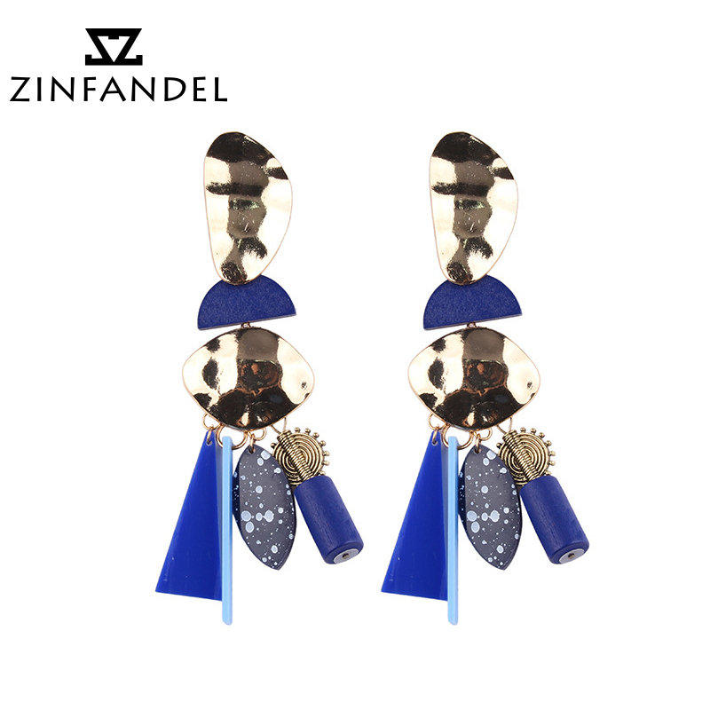 ZINFANDEL Brand 4 Colours Concise Exoticism Alloy Resin Mixture Cut Earrings Geometric Temperament Eail Accessories Vintage Wind