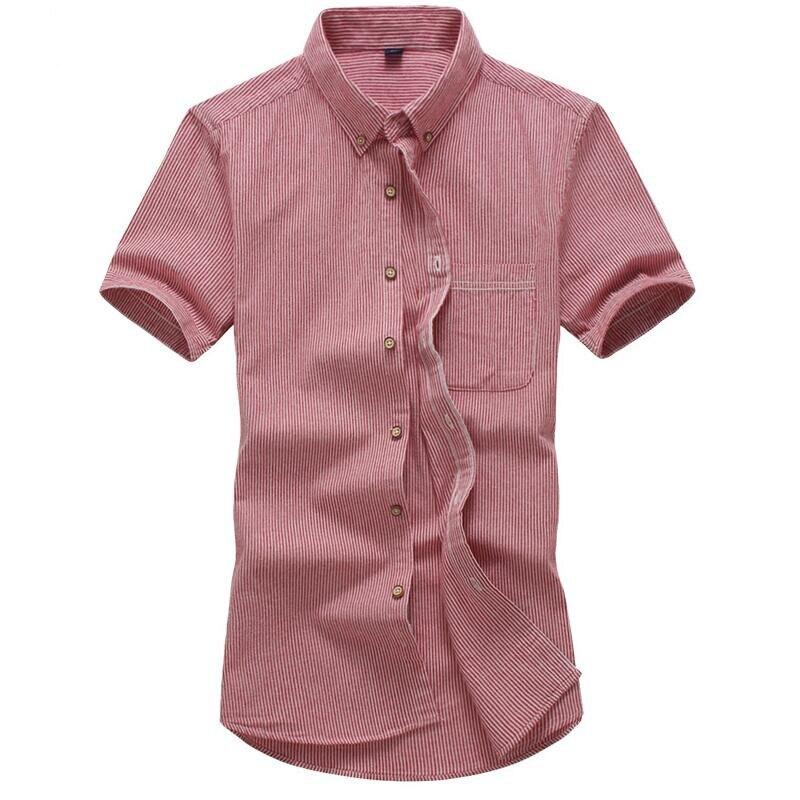 Рубашка летняя новая мужская повседневная полосатая рубашка мужская 100% хлопковая рубашка с коротким рукавом мужская Тонкая рубашка большо...