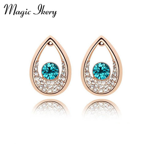 Magic Ikery Gold Color Rhinestone Crystal Vintage India Tear Stud Earring Whole Fashion Jewelry For Women