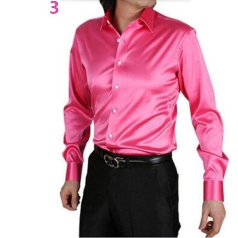 Men Dress Shirt Custom Casual Suits Silk Satin Long sleeve Casual ...