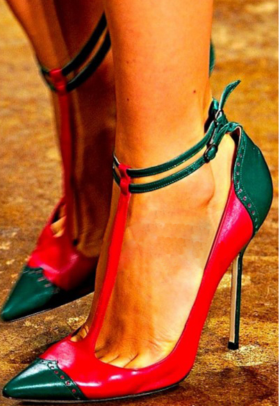 Fashion pointed toe t-strap high heels patchwork cut-out gladiator pumps sexy stiletto shoe for women new arrival heels