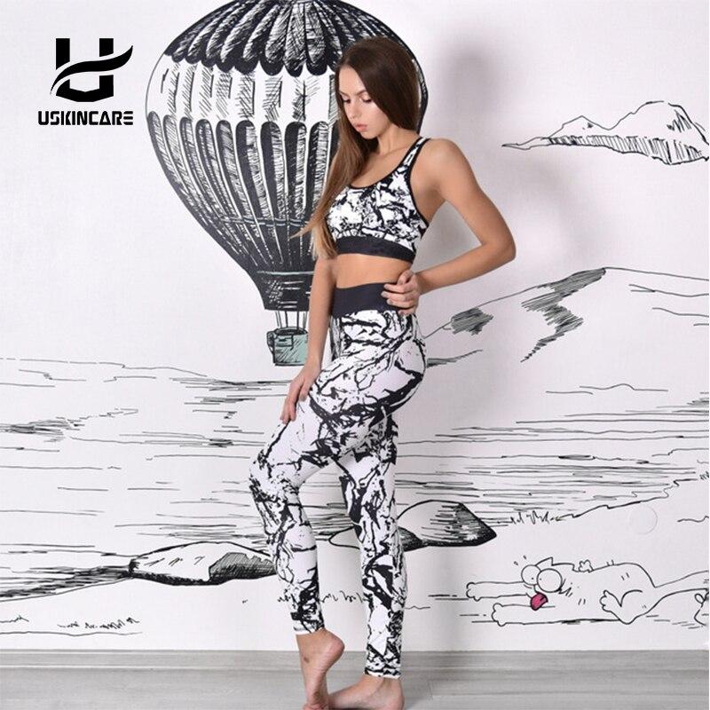 USKINCARE Women S Yoga Set Fitness Leggings Workout Gym Pants Stripe Camouflage Print Sports Leggings Fitness