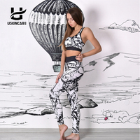 USKINCARE Women S Yoga Set Fitness Leggings Workout Gym Pants Stripe Camouflage Print Sports Leggings Fitness