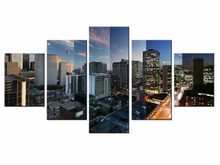 5 pieces / set of Beautiful city landscape wall art for decorating home Decorative painting on canvas Wholesale/XC-City-61