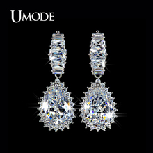 UMODE Fashion Rhodium plated Crystal Jewelry Dangle Earring Cubic Zirconia Water Drop Earrings For Women AUE0008