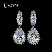 UMODE Fashion White Gold Color Crystal Jewelry Dangle Earring Cubic Zirconia Water Drop Earrings For Women