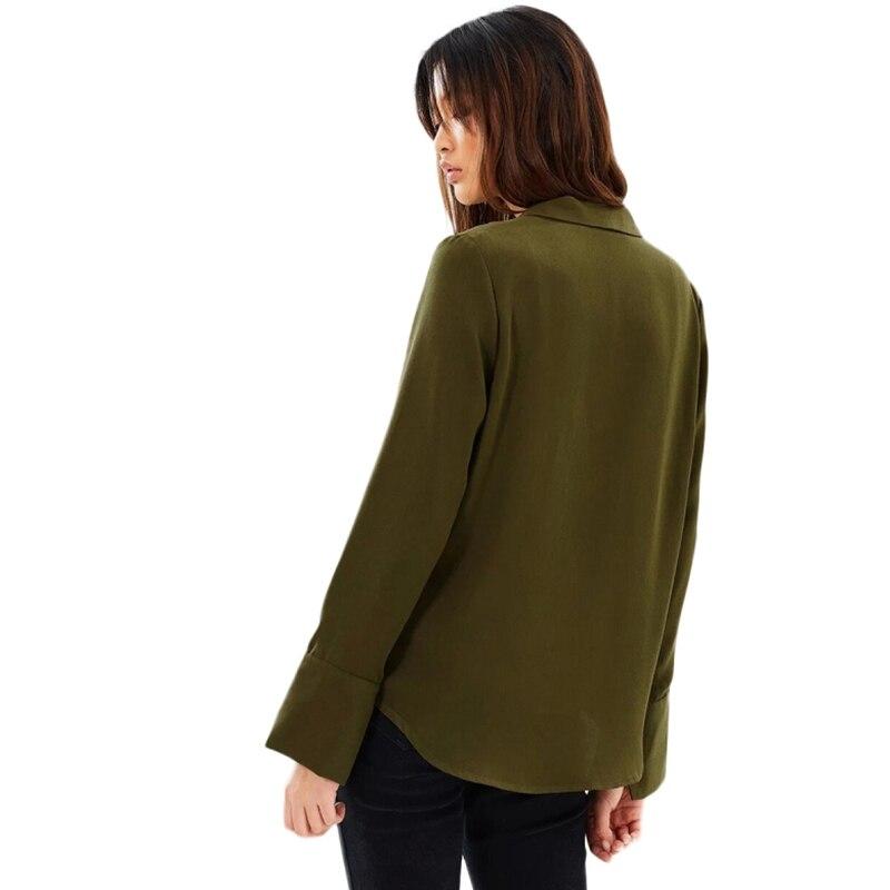 HYH HAOYIHUI Women Solid Amy Green Coat Single Button V Neck OL Lady Elegant Loose Outwears Turn down Collar Female Coat in Jackets from Women 39 s Clothing