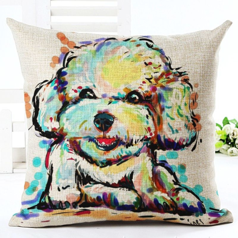 Pet Dog Style French Bulldog pattern Cushion Cover Customized Throw Pillow Home Decorative Cotton Linen Square Printing Cojines