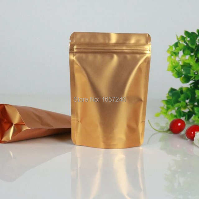 500Pcs/Lot Stand Up Double Gold Aluminum Foil Zip Lock Self Seal Food  Storage Packaging Bags Mylar Foil Corn Doypack Party Pouch