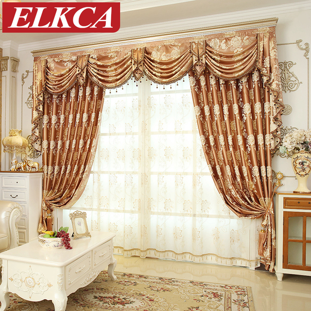Living Room Window Valances Interior Lighting Design For Us 17 4 40 Off European Jacquard Floral Luxury Curtains Bedroom Chinese Golden Coffee Blue In