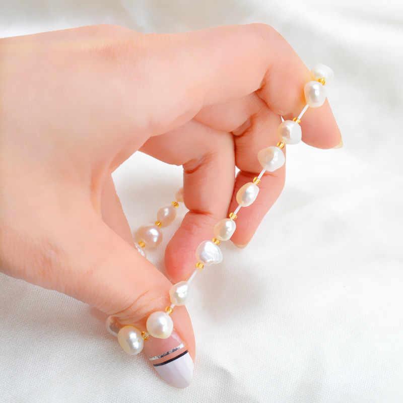 ASHIQI настоящий натуральный пресноводный барочный жемчуг браслеты и браслеты для женщин Многоцветный Кристалл бисером ювелирные изделия подарок