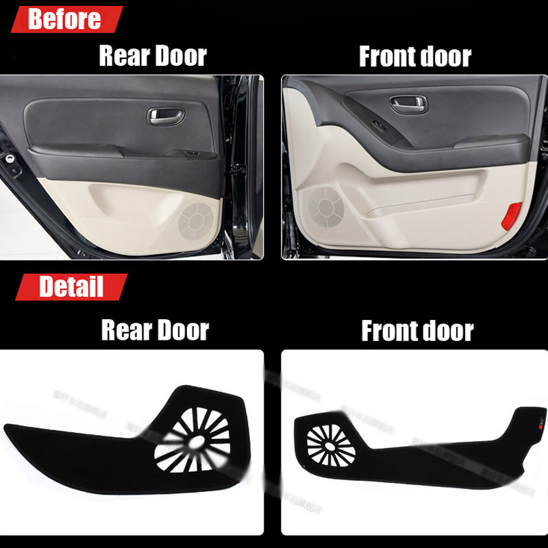 Ipoboo 4pcs Fabric Door Protection Mats Anti-kick Decorative Pads For Hyundai Elantra 2011-2015 ipoboo 4pcs fabric door protection mats anti kick decorative pads for hyundai elantra 2012 2015
