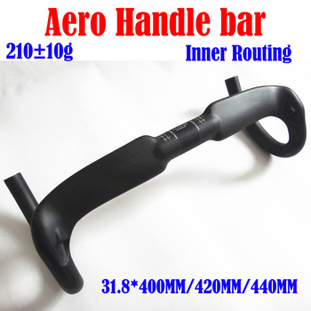 Aero Carbon Fiber Bicycle Handlebar Reduce Resistance Bent Bar Strengthen Bike Parts 400/420/440mm Inner Routing Ud Matte/glossy