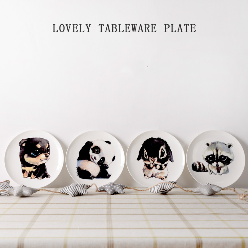 8 Inch Creative Tableware Bone China Round Plate Dessert Plate Steak Western Dishes Ceramic Plate