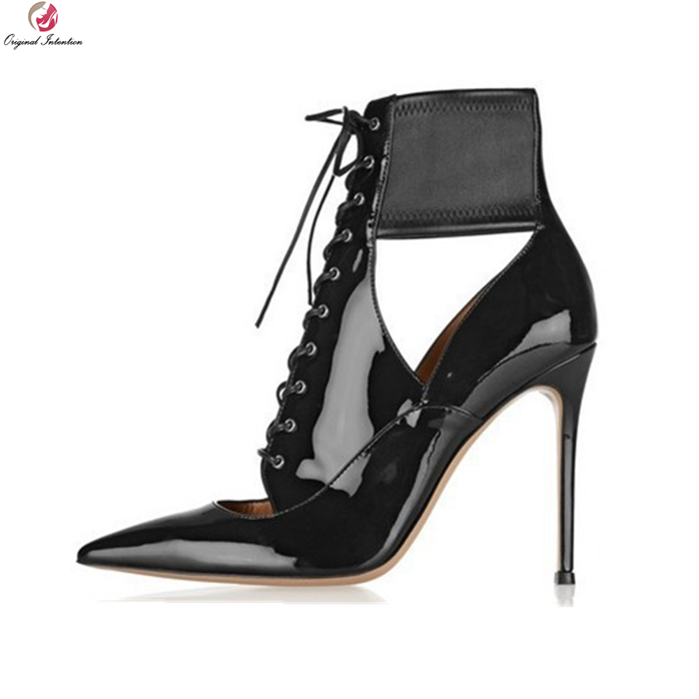 Original Intention Women Ankle Boots Popular Pointed Toe Thin High Heels Boots Fantastic Black Shoes Woman Plus US Size 3-10.5 купить