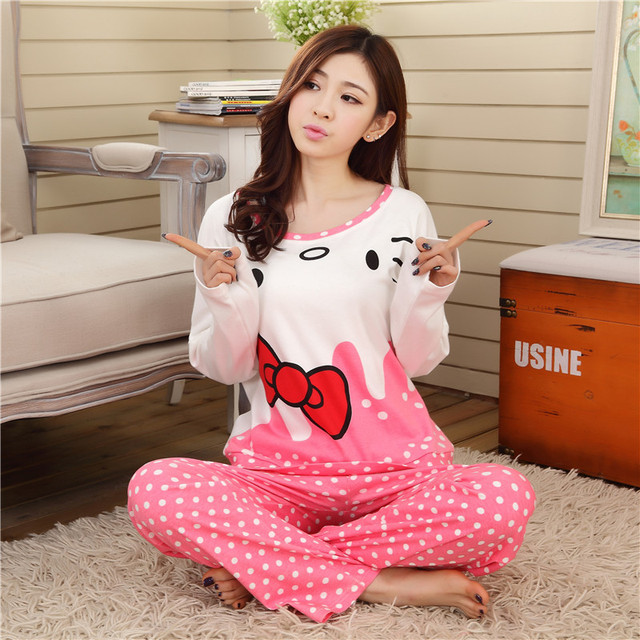 af4d0ed5c5e Women Cute Cartoon KT Cat Dot Pajamas Sets Soft Cotton Long sleeve Round  Neck Sleepwear Night Suit Home Wear