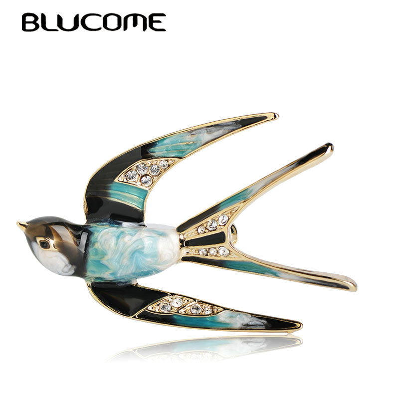 Blucome Vivid Swallow Shape Brooch Pin Black Blue Enamel Gold Color Metal Scarf Pins Women Kids Suit Clothes Accessories Jewelry