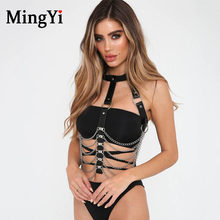 Leather Harness Bra With Chocker Sexy Body Chain Bondage Belt Goth Punk Harness Belt Crop Top Bdsm Lingerie NightClub Party Wear(China)