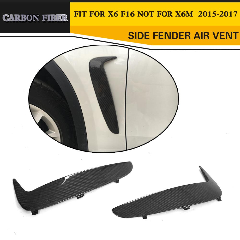 Carbon Fiber Auto Racing Side Fender Vents Trim Car Styling For BMW F16 X6 2015-2017