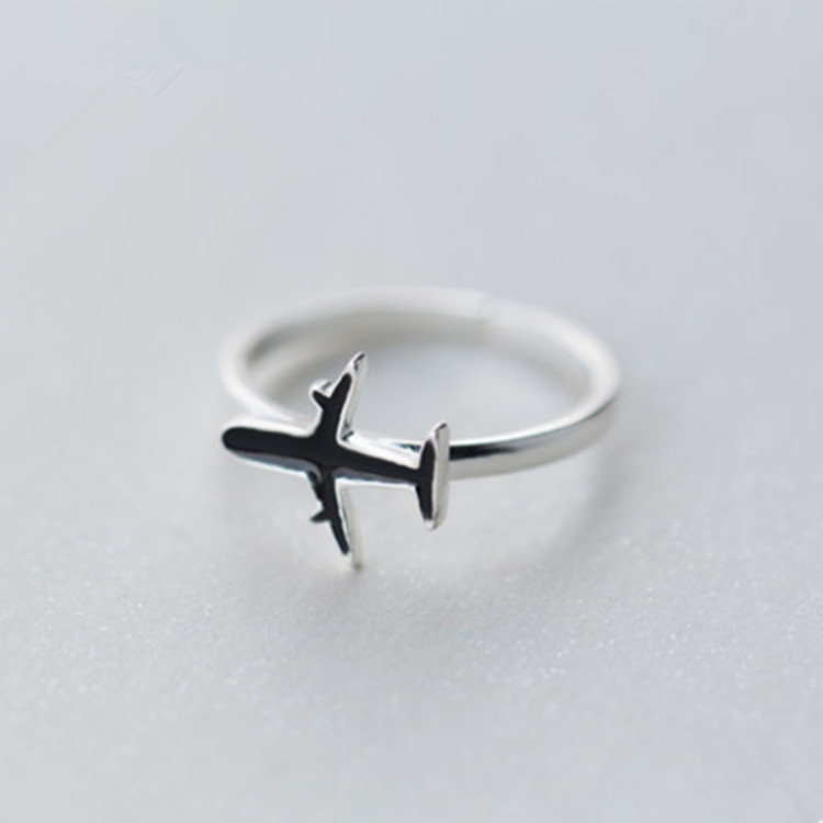 Silver Color Plane Ring Women 2018 Fashion Jewelry Delicate Ladies Adjustable Rings Girls Finger Ring Ringen Voor Vrouwen