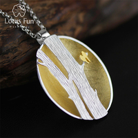 Lotus Fun Real 925 Sterling Silver Handmade Fine Jewelry Creative Birds on Branches Design Pendant without Necklace for Women
