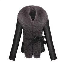 KERUISHU sheep PU leather fox fur collar slim long-sleeved short jacket jacket fur collar plush leather fur coat 3XL