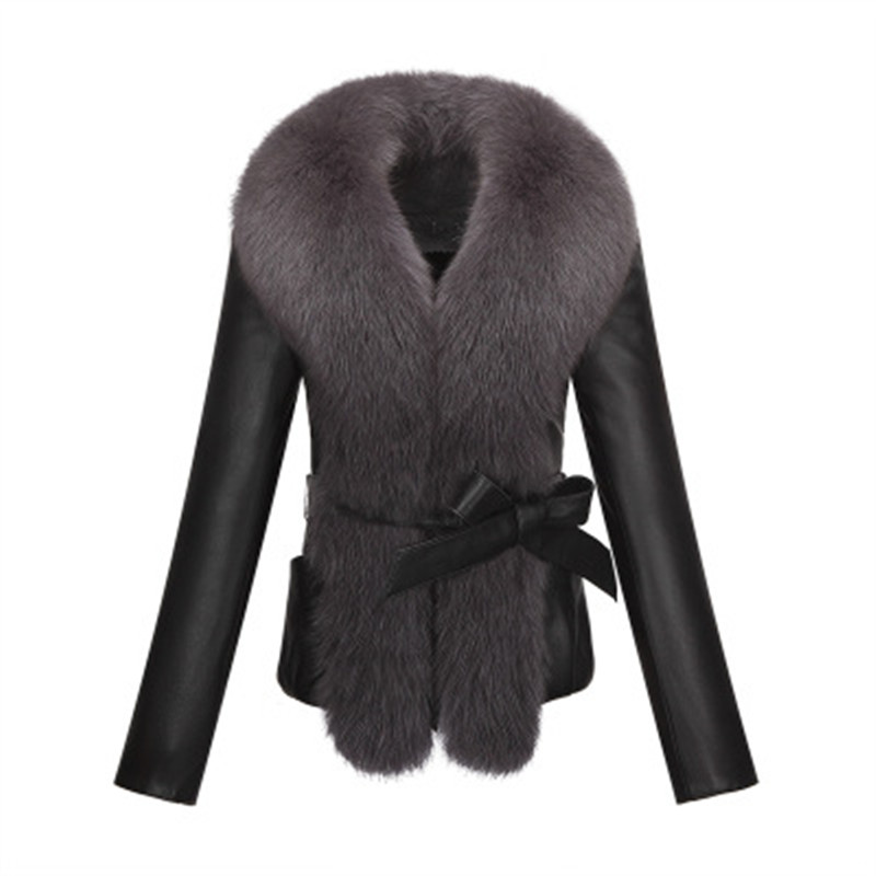 KERUISHU sheep PU leather fox fur collar slim long sleeved short jacket jacket fur collar plush