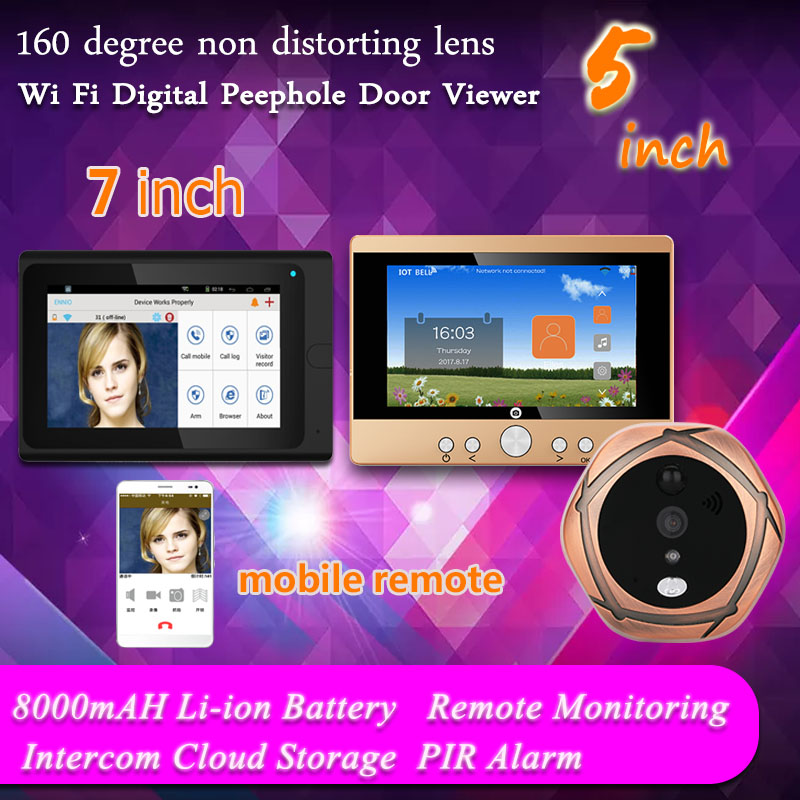 YobangSecurity 7 Inch & 5 Inch Monitor Wifi Wireless Video Door Phone Doorbell Intercom Kit Digital Peephole Door Viewer Camera