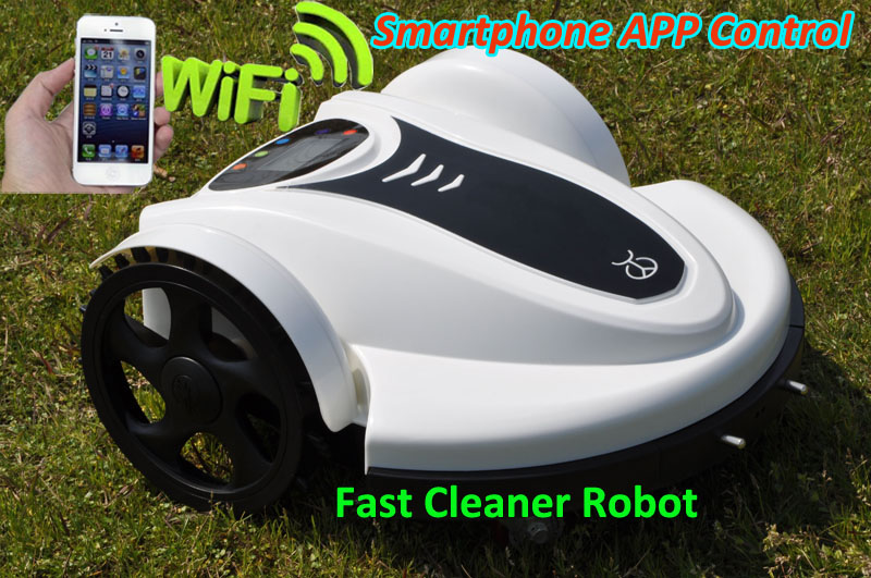 IPHONE, Smartphone APP Wireless Control Automatic Robot Lawn Mower 158N with leadacid battery,Water-Proofed Charger,Anti-theft newest wifi app smartphone wireless remote control lawn mower robot with water proofed charger range subarea compass functions