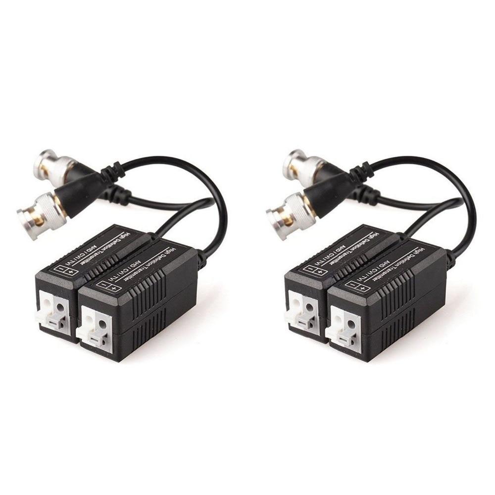 4PCS Passive Video Balun Transmitter & Transceiver With Cable For 1080P TVI/CVI/TVI/AHD/960H DVR Camera CCTV System
